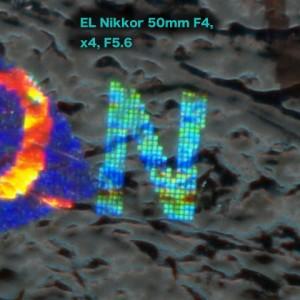 EL Nikkor 50mm F4, 諭吉ホログラムベンチマークテスト